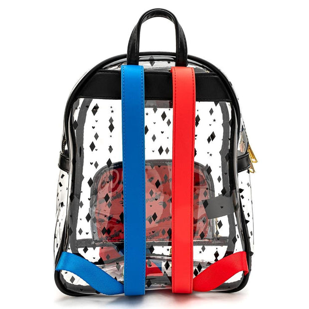 LOUNGEFLY X BIRDS OF PREY HARLEY QUINN CLEAR PVC MINI BACKPACK - BACK