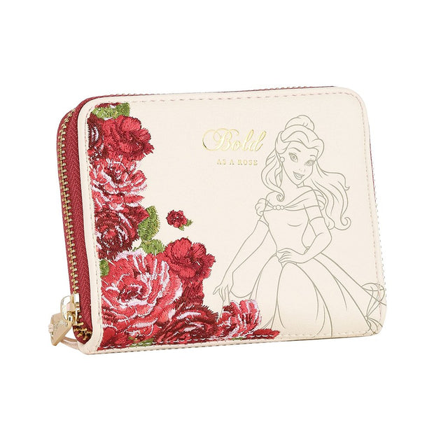 Loungefly Disney Belle Flowers Faux Leather Mini Zip Wallet - FRONT