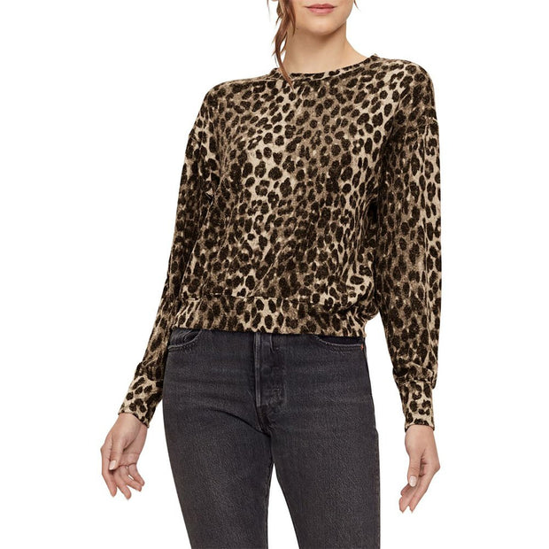 Gigi Snow Leopard Brushed Jersey Top
