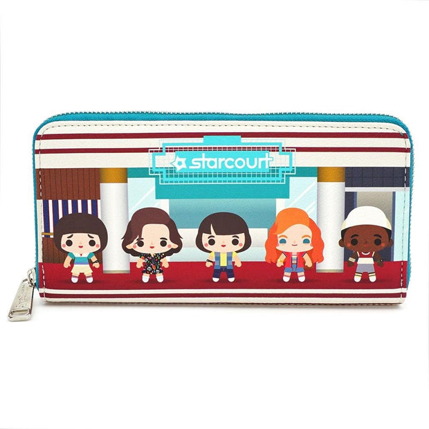 LOUNGEFLY X STRANGER THINGS STARCOURT MALL CHIBI AOP WALLET - FRONT