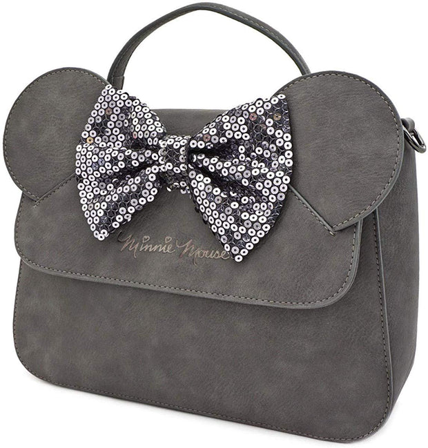 Disney Minnie Mouse Grey Sequin Bow Crossbody