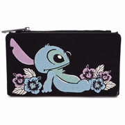 LOUNGEFLY X DISNEY LILO AND STITCH SATIN STITCH WALLET - FRONT