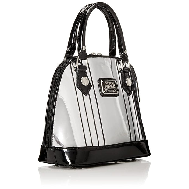 Loungefly Captain Phasma Silver Metallic Embossed Dome Top Handle Bag - BACK