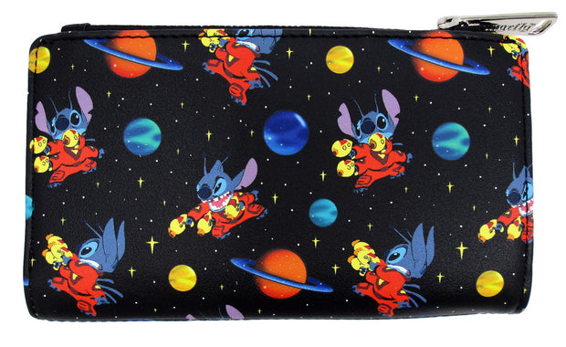 LOUNGEFLY X DISNEY STITCH IN SPACE ALLOVER PRINT WALLET - FRONT
