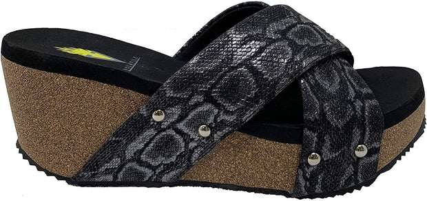 Riverside Snake Print Criss Cross Slide Wedge Sandal