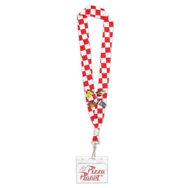 Disney Pixar Toy Story Pizza Planet Lanyard with Cardholder & 4 Enamel Pins