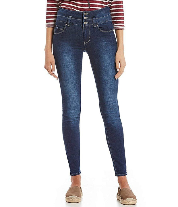 Junior Wannabettabutt 3-Button Stacked Waist Denim Skinny Jean