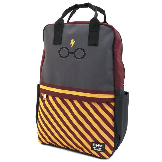 LOUNGEFLY X HARRY POTTER BOLT GLASSES SQUARE NYLON BACKPACK - SIDE