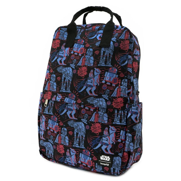 LOUNGEFLY X STAR WARS EMPIRE STRIKES BACK 40TH ANNIVERSARY AOP SQUARE NYLON BACKPACK - SIDE