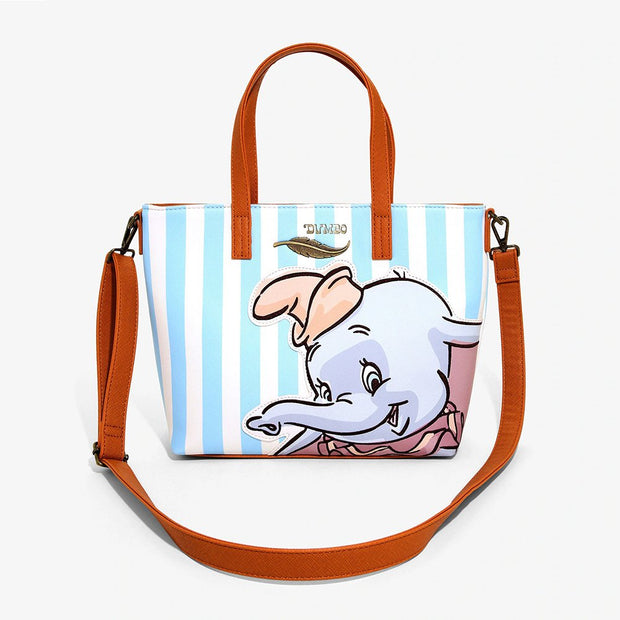 Loungefly x Disney Dumbo Striped Tote Bag with Crossbody Strap - FRONT