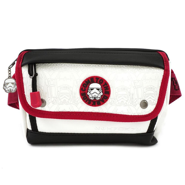 LOUNGEFLY X STAR WARS WHITE TROOPER DEBOSSED FANNY PACK - FRONT