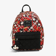 Loungefly x Mickey Mouse Plaid Mini Backpack - FRONT