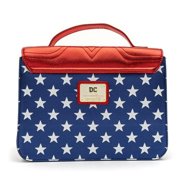 LOUNGEFLY X DC COMICS WONDER WOMAN RED WHITE AND BLUE GOLD CHAIN CROSSBODY BAG - BACK