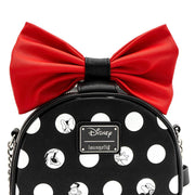 LOUNGEFLY X DISNEY MINNIE MOUSE BIG RED BOW CROSSBODY BAG - FRONT DETAIL