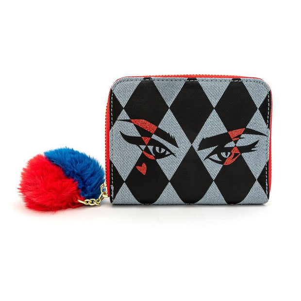 LOUNGEFLY X DC COMICS BIRDS OF PREY HARLEY EYES ZIP AROUND WALLET - FRONT