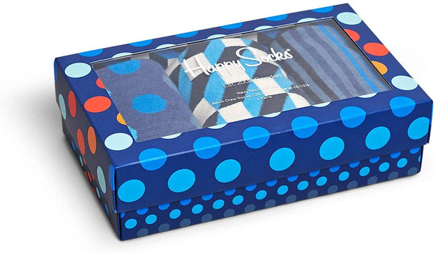 Navy Print Socks 3-Pack Gift Box