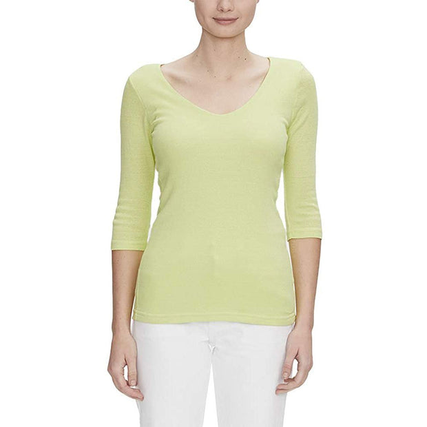 Shine 3/4 Sleeve Double V-Neck Top