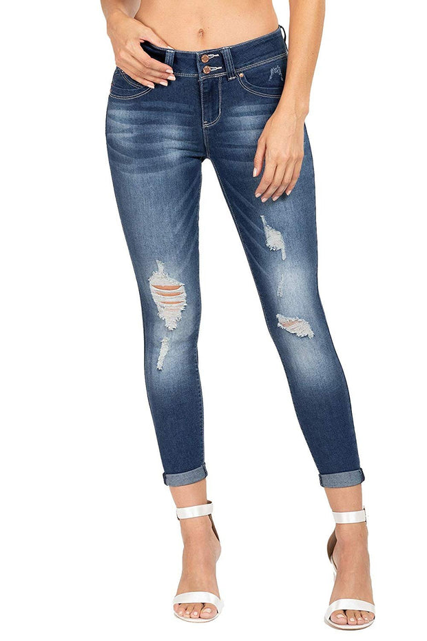 Junior Wannabettabutt 2-Button Mid-Rise Distressed Denim Ankle Jean