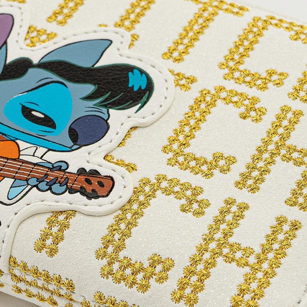 LOUNGEFLY X DISNEY LILO AND STITCH ELVIS STITCH ZIP AROUND WALLET - FRONT DETAIL