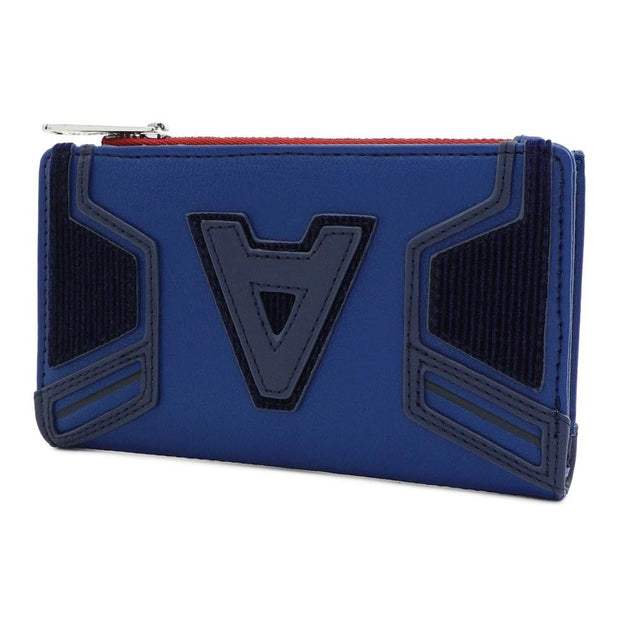 LOUNGEFLY X MARVEL CAPTAIN AMERICA A LOGO FLAP WALLET - SIDE