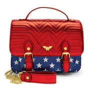 LOUNGEFLY X DC COMICS WONDER WOMAN RED WHITE AND BLUE GOLD CHAIN CROSSBODY BAG - FRONT
