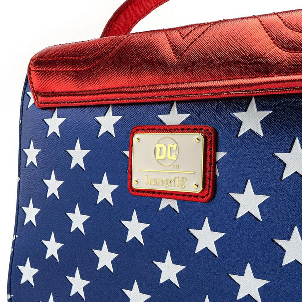 LOUNGEFLY X DC COMICS WONDER WOMAN RED WHITE AND BLUE GOLD CHAIN CROSSBODY BAG - BACK DETAIL