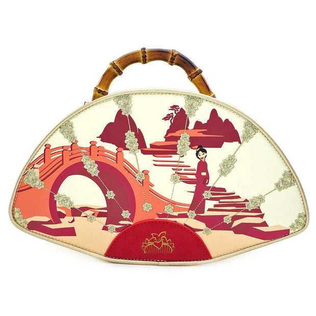 LOUNGEFLY X DISNEY MULAN BAMBOO HANDLE FAN HANDBAG - FRONT