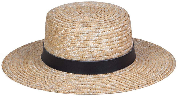 Spencer Leather Banded Straw Boater Hat