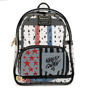 LOUNGEFLY X BIRDS OF PREY HARLEY QUINN CLEAR PVC MINI BACKPACK - FRONT