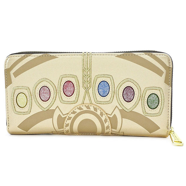 Loungefly Marvel Infinity Gauntlet Faux Leather Zip Wallet - FRONT