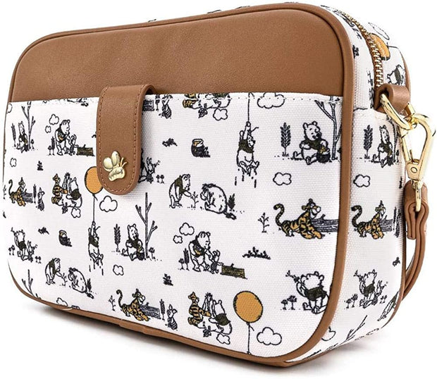 Disney Winnie the Pooh Canvas Line Drawing Allover Print Crossbody