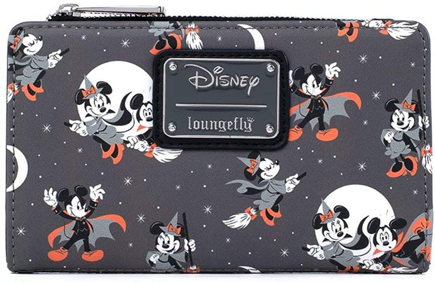 Disney Mickey & Minnie Halloween Allover Print Flap Wallet