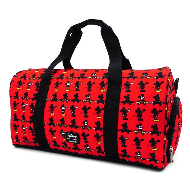 LOUNGEFLY X DISNEY MICKEY MOUSE PARTS AOP NYLON DUFFLE BAG - BACK