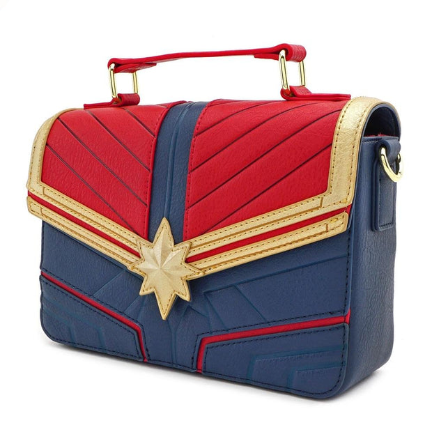 LOUNGEFLY X MARVEL CAPTAIN MARVEL COSPLAY CROSS BODY BAG - SIDE