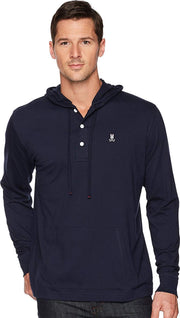 Mens Long Sleeve Bunny Placket Hoodie