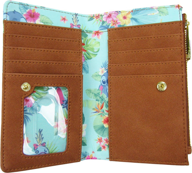 707 Street Exclusive Disney Lilo & Stitch Mint Floral Allover Print Flap Wallet