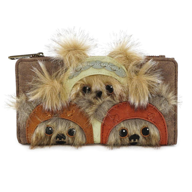 LOUNGEFLY X STAR WARS EWOK TRIO FLAP WALLET - FRONT
