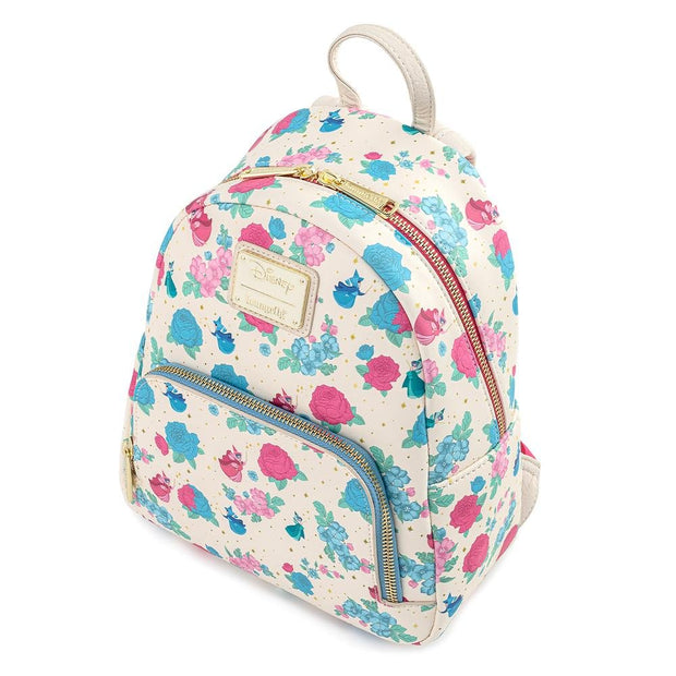 Disney Sleeping Beauty Floral Fairy Godmother Allover Print Mini Backpack - Aerial View
