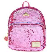 LOUNGEFLY X DISNEY PRINCESS SLEEPING BEAUTY REVERSIBLE SEQUIN MINI BACKPACK - FRONT