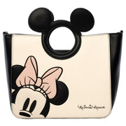 LOUNGEFLY X MINNIE WITH DIE-CUT MICKEY HANDLE TOTE BAG - FRONT