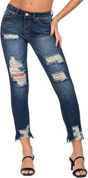 Junior Hybrid Dream Mid-Rise Ankle Jean with Hem Destruction