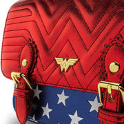 LOUNGEFLY X DC COMICS WONDER WOMAN RED WHITE AND BLUE GOLD CHAIN CROSSBODY BAG - FRONT DETAIL