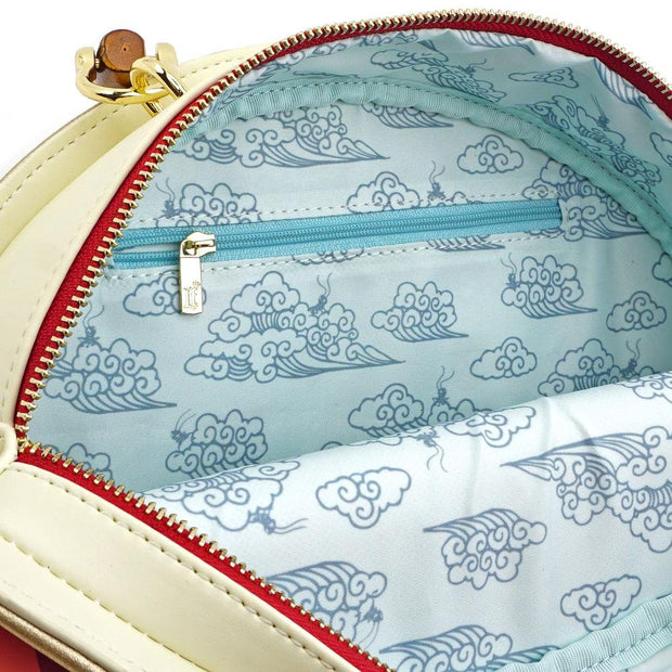 LOUNGEFLY X DISNEY MULAN BAMBOO HANDLE FAN HANDBAG - PRINT DETAIL