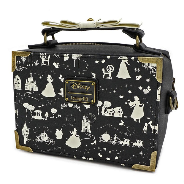 LOUNGEFLY X DISNEY PRINCESS BLACK AND WHITE MULTI PRINCESS BOX CROSS BODY BAG - SIDE
