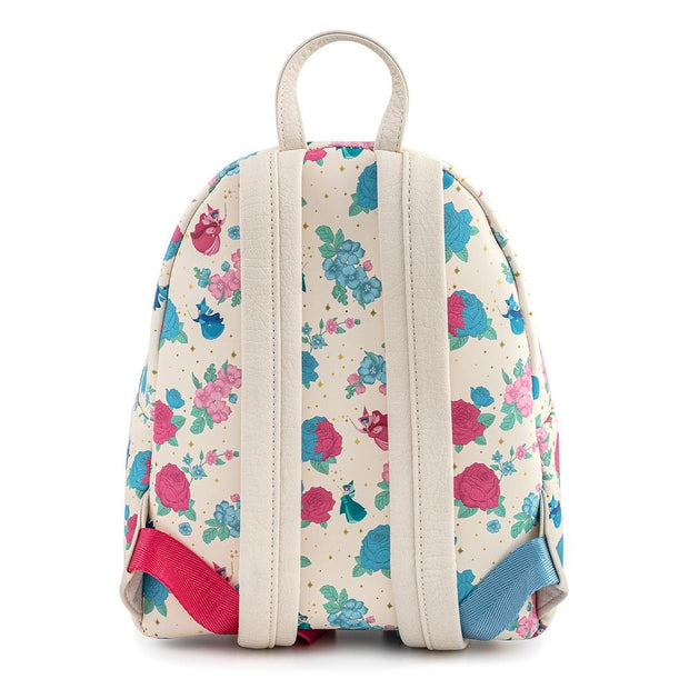 Disney Sleeping Beauty Floral Fairy Godmother Allover Print Mini Backpack - Back