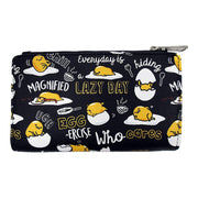 Loungefly x Gudetama the Lazy Egg Black Editorial Allover-Print Wallet - FRONT