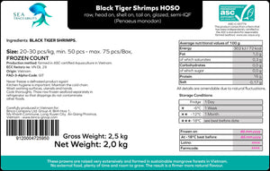 Black Tiger Prawns - Head On Shell On 20/30 Frozen Count (FROZEN) 2.5KG Box