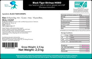 Black Tiger Prawns - Head On Shell On 6/8 Real Count (FROZEN) 2.5 KG Boxes