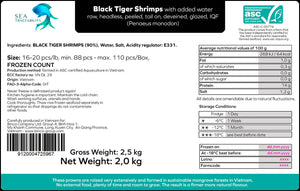 Black Tiger Prawns - Peeled Tail On 16/20 Frozen Count (FROZEN) 2.5KG Box