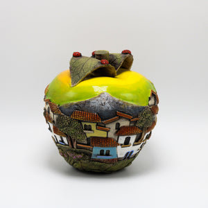 Yellow Ceramic Apple sculpture (medium)